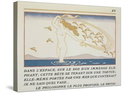 Woman Wading Through Water, Illustration from 'Les Mythes' by Paul Valery (1871-1945)-Georges Barbier-Stretched Canvas Print