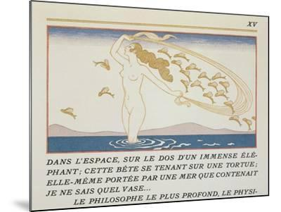 Woman Wading Through Water, Illustration from 'Les Mythes' by Paul Valery (1871-1945)-Georges Barbier-Mounted Giclee Print