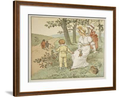Walking to Mousey's Hall, Illustration from 'A Frog He Would A-Wooing Go'-Randolph Caldecott-Framed Giclee Print