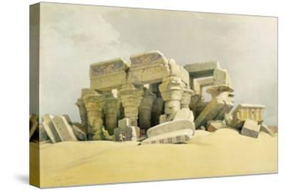 """Ruins of the Temple of Kom Ombo, from """"Egypt and Nubia"""", Vol.1 (Litho) (See also 84718)-David Roberts-Stretched Canvas Print"""