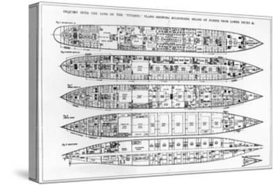 Inquiry in the Loss of the Titanic: Cross Sections of the Ship (Engraving) (B/W Photo)-English-Stretched Canvas Print