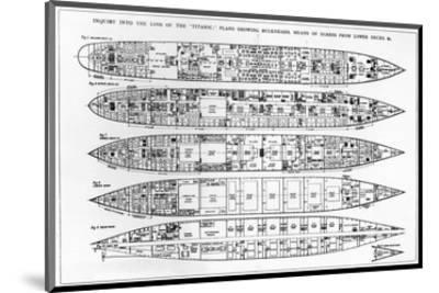 Inquiry in the Loss of the Titanic: Cross Sections of the Ship (Engraving) (B/W Photo)-English-Mounted Premium Giclee Print