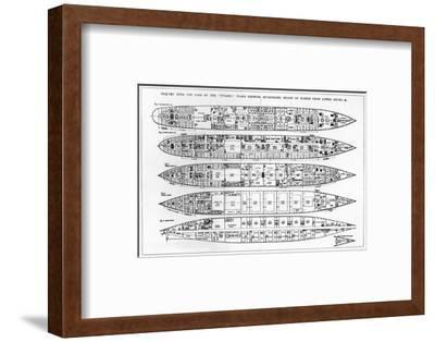 Inquiry in the Loss of the Titanic: Cross Sections of the Ship (Engraving) (B/W Photo)-English-Framed Premium Giclee Print