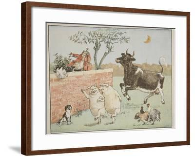 The Cat and the Fiddle, Illustration from 'Hey Diddle Diddle and Bye, Baby Bunting', 1882-Randolph Caldecott-Framed Giclee Print