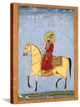 The Mughal Emperor Farrukhsiyar(1683-1719) (R.1713-19), from the Large Clive Album-Mughal-Stretched Canvas Print