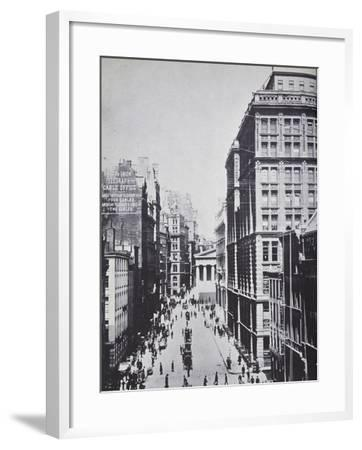 Broad Street, Looking Towards Wall Street, New York, 1893 (B/W Photo)-American Photographer-Framed Giclee Print