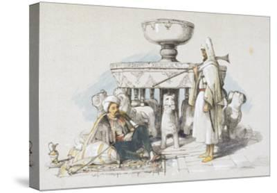 The Fountain of the Lions, Vignette from 'sketches and Drawings of the Alhambra', 1835 (Litho)-John Frederick Lewis-Stretched Canvas Print