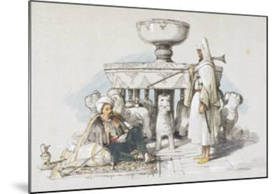 The Fountain of the Lions, Vignette from 'sketches and Drawings of the Alhambra', 1835 (Litho)-John Frederick Lewis-Mounted Giclee Print