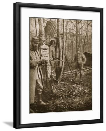 On the French Lorraine Front: a Poilu's Camp Letter-Box and Buzzard Mascots-English Photographer-Framed Giclee Print