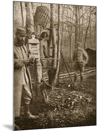 On the French Lorraine Front: a Poilu's Camp Letter-Box and Buzzard Mascots-English Photographer-Mounted Giclee Print