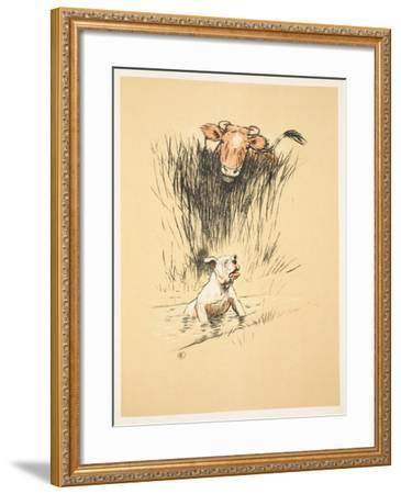 Bull and Dog in Field (Colour Litho)-Cecil Aldin-Framed Giclee Print
