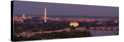 USA, Washington DC, Aerial, Night--Stretched Canvas Print