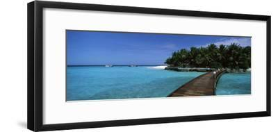 Tourist Resort Viewed Through a Boardwalk, Thulhagiri Island Resort, North Male Atoll, Maldives--Framed Photographic Print