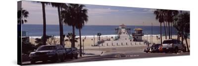 Pier over an Ocean, Manhattan Beach Pier, Manhattan Beach, Los Angeles County, California, USA--Stretched Canvas Print