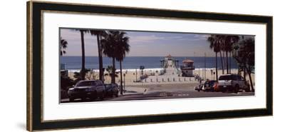 Pier over an Ocean, Manhattan Beach Pier, Manhattan Beach, Los Angeles County, California, USA--Framed Photographic Print