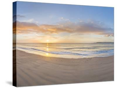 Sunrise over the Sea, Tenby, Pembrokeshire, Wales--Stretched Canvas Print
