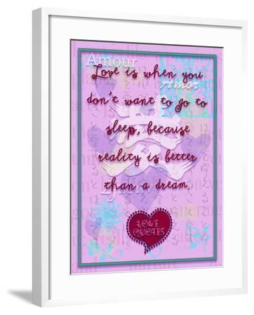 Love Is When You Don'T Want to Go to Sleep-Cathy Cute-Framed Giclee Print