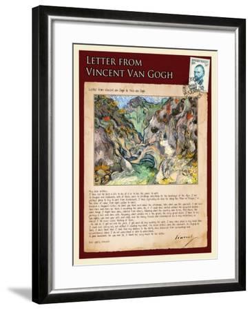 Letter from Vincent: Les Peiroulets Ravine-Vincent van Gogh-Framed Giclee Print