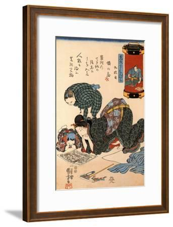 Women Reading a News Paper-Kuniyoshi Utagawa-Framed Giclee Print