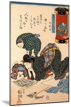 Women Reading a News Paper-Kuniyoshi Utagawa-Mounted Giclee Print