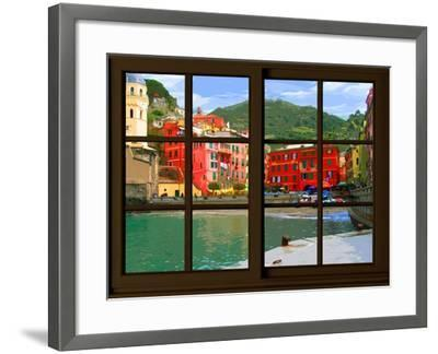 View from the Window Vernazza at Cinque Terre-Anna Siena-Framed Giclee Print