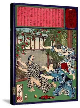 Ukiyo-E Newspaper: Jealous Wife Killed Her Husband-Yoshitoshi Tsukioka-Stretched Canvas Print