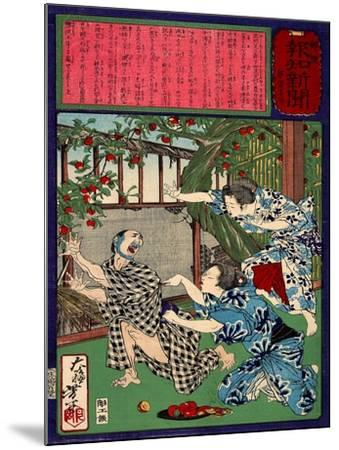 Ukiyo-E Newspaper: Jealous Wife Killed Her Husband-Yoshitoshi Tsukioka-Mounted Giclee Print
