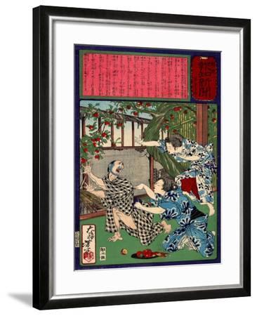 Ukiyo-E Newspaper: Jealous Wife Killed Her Husband-Yoshitoshi Tsukioka-Framed Giclee Print