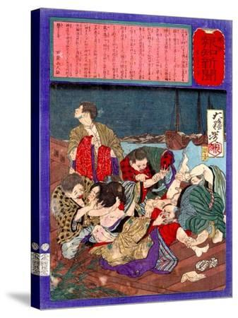Ukiyo-E Newspaper: Flirtatious Omatsu Being Gang Raped for a Punishment-Yoshitoshi Tsukioka-Stretched Canvas Print