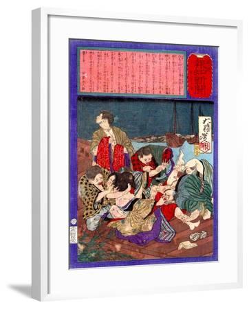 Ukiyo-E Newspaper: Flirtatious Omatsu Being Gang Raped for a Punishment-Yoshitoshi Tsukioka-Framed Giclee Print