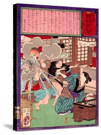 Ukiyo-E Newspaper: a Noodle Shop Wife Throw a Boiling Pot to Her Husband-Yoshitoshi Tsukioka-Stretched Canvas Print