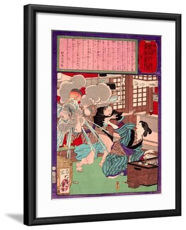 Ukiyo-E Newspaper: a Noodle Shop Wife Throw a Boiling Pot to Her Husband-Yoshitoshi Tsukioka-Framed Giclee Print