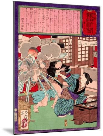 Ukiyo-E Newspaper: a Noodle Shop Wife Throw a Boiling Pot to Her Husband-Yoshitoshi Tsukioka-Mounted Giclee Print
