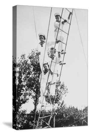 Crown Prince of Germany's Children Frolic on What Appears to Be a Ship's Ratline or Rope Ladder--Stretched Canvas Print