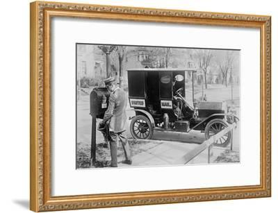 Mailman at Post Box with His Truck Parked at the Curb--Framed Art Print