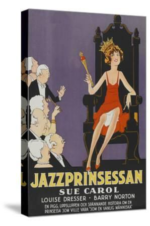 """Exalted Flapper """"Jazzprinsessan""""--Stretched Canvas Print"""