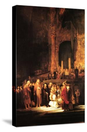 Christ and the Adultress-Rembrandt van Rijn-Stretched Canvas Print