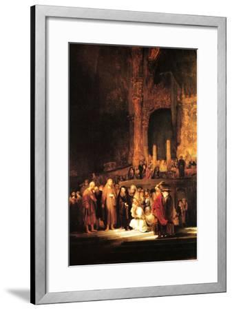 Christ and the Adultress-Rembrandt van Rijn-Framed Art Print