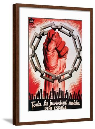 All the Youth United for Spain.- United Socialist Youth-Framed Art Print
