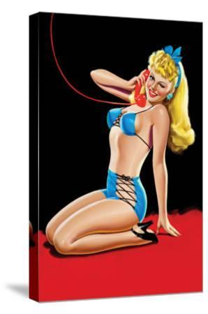 Eyeful Magazine; Pin Up in Blue Bikini-Peter Driben-Stretched Canvas Print