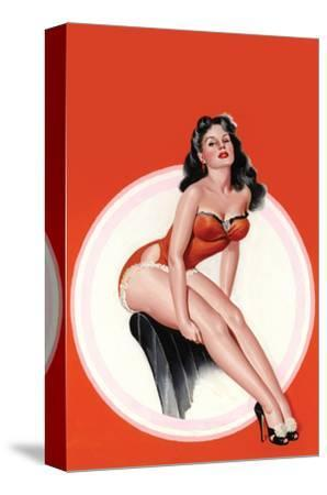 Eyeful Magazine; Brunette in a Red Bathing Suit-Peter Driben-Stretched Canvas Print