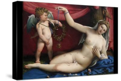Venus and Cupid-Lorenzo Lotto-Stretched Canvas Print