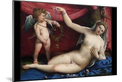 Venus and Cupid-Lorenzo Lotto-Mounted Art Print