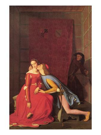 Paolo and Francesca-Jean-Auguste-Dominique Ingres-Framed Art Print