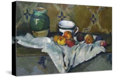 Still Life with Cup, Jar and Apples-Paul C?zanne-Stretched Canvas Print