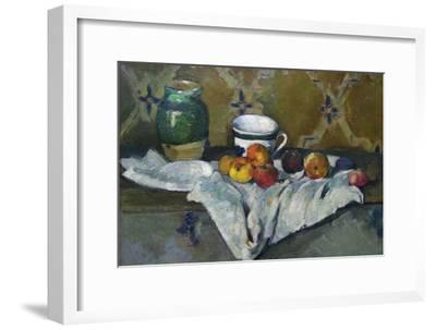 Still Life with Cup, Jar and Apples-Paul C?zanne-Framed Art Print