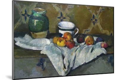 Still Life with Cup, Jar and Apples-Paul C?zanne-Mounted Art Print