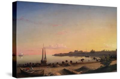 Stage Fort across Gloucester Harbor-Fitz Henry Lane-Stretched Canvas Print