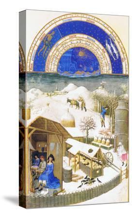 Le Tres Riches Heures Du Duc De Berry - February-Paul Herman & Jean Limbourg-Stretched Canvas Print