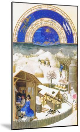 Le Tres Riches Heures Du Duc De Berry - February-Paul Herman & Jean Limbourg-Mounted Art Print